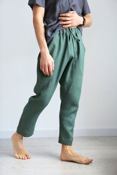 Vintage Outfits Discover READY TO SHIP_XL Natural mens linen pants Summer pants Baggy pants Mens trousers Pants for men Gift for him Mens joggers handmade Linen Trousers, Trouser Pants, Linen Tunic, Summer Pants, Lounge Wear, Vintage Outfits, Steampunk Fashion, Gothic Fashion, Asian Fashion
