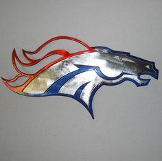 "Denver Broncos Shield Custom Logo 16"" x 9"" Metal Art GREAT GIFT"