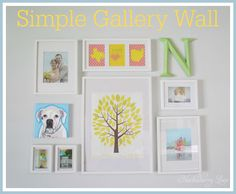 Simple Gallery Wall using white IKEA Ribba frames. Love the colors!