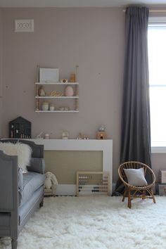 Preciously Me blog : One Room Challenge - Nursery Reveal love the pale pink, greige, gray cozy modern feel of this space