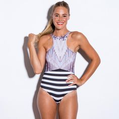 Modest one pice racer front bathing suit | Mode-sty #swimfree