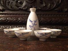Sake Set Made in Japan Pocelain Service for 6 by MidCenturyAmericana on Etsy