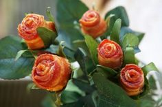 Edible roses yum - What Father wouldn't love BACON ROSES!!!!