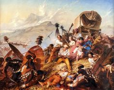 1838 Painting of a Zulu attack on a Voortrekker camp, by Charles Bell - South African Art, Art Galleries in South Africa, South African Artists Charles Bell, South Africa Tours, Oil On Canvas, Canvas Prints, South African Artists, African History, Poster Size Prints, Battle, Art Gallery