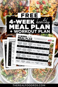 To help you start the year off right we've created a free 4-Week Healthy Meal Plan!! A full 4-week healthy meal plan PLUS grocery list to make it as easy as possible for you! PLUS to make it even better, we've teamed up with our favorite fitness trainer who put together a 4-Week Workout Challenge that includes a new workout for each day (minimal equipment needed, less than 45 minutes!), full-length videos and workouts that can be completed in the comfort of your own home! 4 Week Workout Plan, Weekly Workout Plans, Workout Plan For Beginners, Workout Challenge, Real Food Recipes, Healthy Recipes, Whole30 Recipes, Healthy Meals, Healthy Food