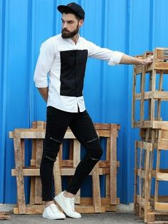 Abof Black And White Shirt And Jeans And Casual Shoes