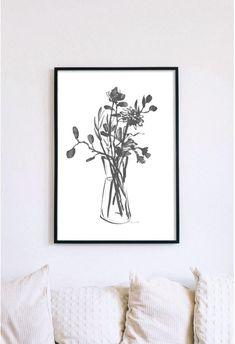 Botanical Wall Art. Subtle dark grey. Can work well as part of a gallery wall display incorporating modern or minimal artworks. Cactus Wall Art, Floral Wall Art, Wall Art Boho, Wall Art Decor, Wall Art Prints, Bathroom Artwork, Orange Art, Digital Print, Coastal Wall Art