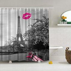 Eanshome Weinlese Paris Eiffelturm Pfirsich-Lippenideen Badezimmer Wasserdichter Duschvorhang