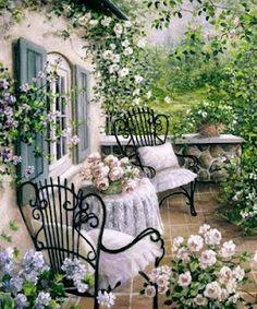CarolArt ✽ Paintings and Video : Romantic Garden Cottage - Susan Rios Outdoor Rooms, Outdoor Gardens, Outdoor Living, Outdoor Decor, Rose Cottage, Cottage Style, Garden Cottage, Cottage Porch, Fairytale Cottage