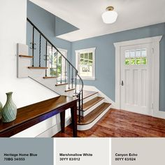 Add more texture and color to your walls using this Glidden Diamond Heritage Home Blue Eggshell Interior Paint with Primer. Hallway Colour Schemes, Hallway Colours, Bedroom Paint Colors, Interior Paint Colors, Paint Colours, Blue Hallway Paint, How To Paint Hallways, Entrance Hall Decor, Hallway Designs