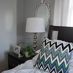 silver and gray chevron painted wall - good neutral to add many color accents