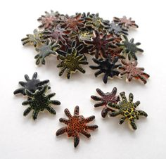 5 handmade spider tiles mosaic ceramic tiles by mosaicmonkey, $5.25
