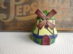 Vintage Windmill Jam or Preserve Pot Marutomoware Japan.  via Etsy.