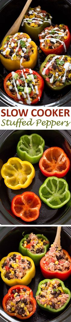 Super Easy Mexican Slow Cooker Stuffed Peppers are a quick, easy and satisfying meal! Crock Pot Slow Cooker, Crock Pot Cooking, Slow Cooker Recipes, Cooking Recipes, Crock Pots, Slow Cooker Meals Healthy, Skillet Recipes, Cooking Tools, Enchilada Sauce