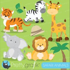 BUY 20 GET 10 OFF Baby Safari Animals clipart commercial use, Jungle animals vector graphics, digital clip art, digital images - from Prettygrafik design