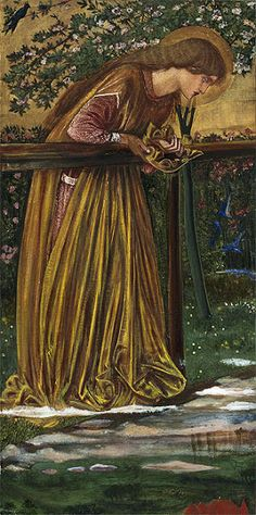 """""""The blessed damozel leaned out From the gold bar of Heaven;She had three lilies in her hand, And the stars in her hair were seven."""" (The Blessed Damozel"""", Dante Gabriel Rosesetti). Painting inspired by this poem by Sir Edward Burne-Jones. Pre Raphaelite Paintings, John Everett Millais, Pre Raphaelite Brotherhood, Edward Burne Jones, Dante Gabriel Rossetti, Harvard Art Museum, John William Waterhouse, Victorian Art, Renaissance Art"""