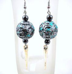 Spike Drop Earrings silver blue patina round by HerBeautyFound