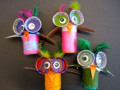 owls made with recycled items