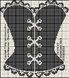 Grille gratuite point de croix : Corset noir 1 - Le blog de Isabelle