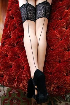 Dollhouse Bettie ~ Retro, Authentic Vintage & Pinup Lingerie ~ Dollhouse Bettie Lotus Blossom Nude Eternity Stockings. Yup I want those, they ard $50 stockings- #steampunkproblems