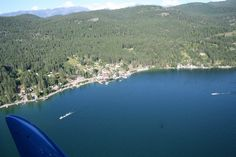 Bird's view of East Lake Shore in Woods Bay, MT.