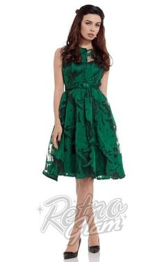 Voodoo Vixen Maggie Dress with green floral overlay and flared skirt front full length #retroglam #retroglamclothing #pinup #40s #oldhollywood #holiday #dresses #cocktail