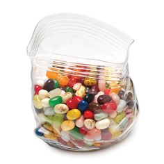Glass unzipped bag candy holder