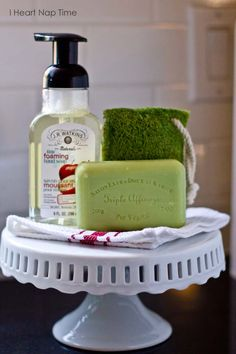 A charming soap display . re-purposed cake plate decor