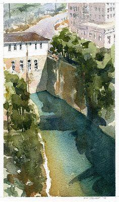 Tallassee, Alabama No.2 by Iain Stewart. Watercolor.