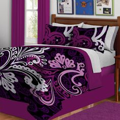 This bedding set has everything you need to make your bed and change it up in an instant. The reversible comforter features bold prints and vibrant colors. The set includes: TWIN Size Comforter, Flat Sheet, Fitted Sheet, Sham, Pillowcase & Bed Skirt. Full Size Comforter Sets, Best Bedding Sets, Queen Comforter Sets, Luxury Bedding Sets, Purple Bedding Sets, Black Bedding, Bright Bedding, Purple Comforter, Floral Comforter