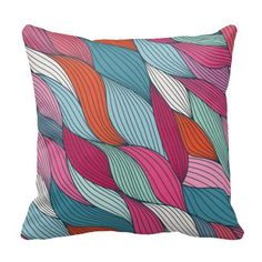 Multi Colored Pillow with Yarn Strands
