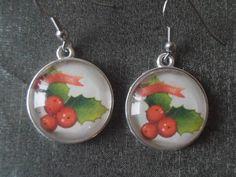 Christmas Earrings Christmas Jewelry Holly Leaf Earrings Holly Leaf Jewelry Holiday Jewelry Silver Jewelry Holiday earrings