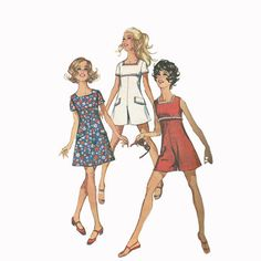 60s Simplicity 8215 Mini Dress or Jumpsuit Bust 33  Vintage Sewing Pattern at Redcurlzs, $8.00