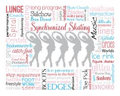 """Original artwork using words to describe """"Synchronized Skating"""" -- Dress up a room in your home with this sports-themed print that details the many words for all things synchro like figure skater, choctaw, lutz, Richard Porter, and more. Come visit the Lexicon Delight Etsy store!"""