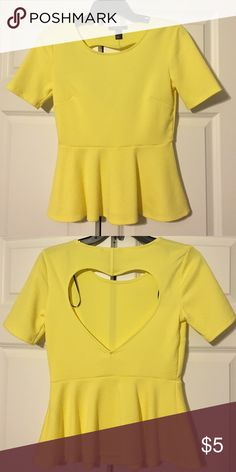 Yellow peplum open back top Nice and bright peplum top. Only worn once. Forever 21 Tops Blouses