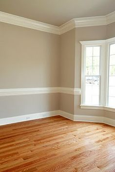 two tone paint with chair rail in master bedroom - Google Search