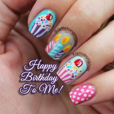 New Ideas Nails Birthday Cupcake Bling Nails, Fun Nails, Cupcake Nail Art, Birthday Nail Art, Fall Acrylic Nails, Nail Polish Art, Brown Nails, Its My Bday, Super Nails