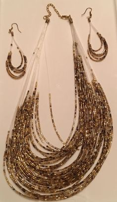 Multi-strand Brown Seed Bead Fashion Necklace & Earring Set 11  Necklace | eBay