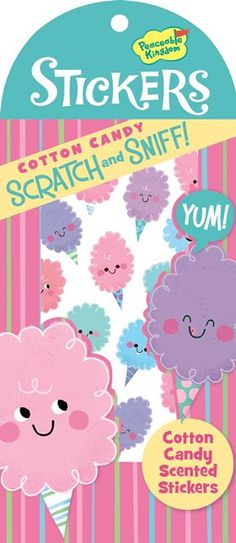 """Girls gifts online - Scratch and Sniff Stickers - Cotton Candy - $3.95 - Who DOESN'T remember the scratch n sniff craze in the 1980's??  Well they're back and we're in love with them all over again!  Cotton Candy Scratch and Sniff stickers by Peacable Kingdom - make sure to have lots on hand for fun little projects – decorate, embellish and give them as gifts for kids! Pack measures 9"""" x 4"""". Girls gifts online - Scratch and Sniff. #Christmas #stockingfiller"""