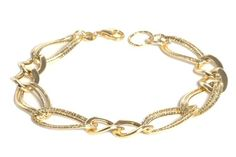 14k Italian Yellow Gold Polished and Textured Double Oval Link Bracelet, 7.5 $271.00 (save $378.00) + Free Shipping