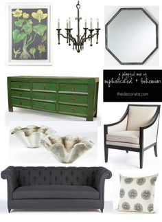 Grey, green, black, white- color combos