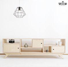 DRUPAL.2. our scandinavian, plywood tv cabinet / bureau. designed by Wood Republic / #interior #design #scandinavian #wood #natural #plywood #chestofdrawers #bureau #vintage #70s #60s #polish #danish #modern #minimalist #minimal #customized #personalized #stylized #solid #birch #handmade #loft #room #livingroom #tv #cabinet #console #scandi Plywood Cabinets, Plywood Furniture, Tv Cabinets, Handmade Furniture, Unique Furniture, Repurposed Furniture, Diy Furniture, Furniture Design, Modern Tv Cabinet