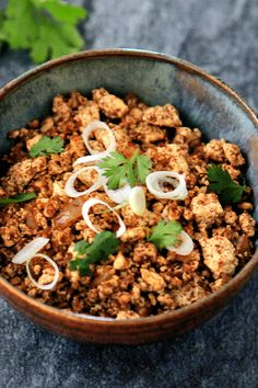 Tofu 'Chorizo' NYT Cooking: Crumble the tofu as if it were ground or coarsely chopped, then cook it until the water is driven out and you get a result which is very similar to ground meat and which takes on the flavor of whatever was cooked with it. Vegan Chorizo, Chorizo Recipes, Tofu Recipes, Whole Food Recipes, Vegetarian Recipes, Cooking Recipes, Healthy Recipes, Dinner Recipes, Bon Appetit