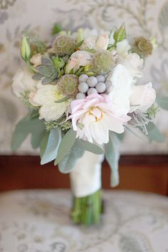 sage green wedding bouquet http://www.weddingchicks.com/2013/10/11/alabama-wedding/