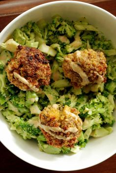 Quinoa Falafels with a Cheezy Broccoli Bowl