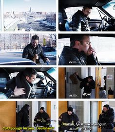 Severide - I just saw a penguin. Crying. (3x14)