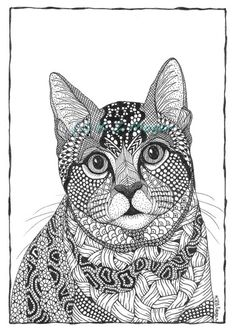 Wynny the cat- matted print from original drawing | MelangeSeriouslyFunArt - Drawing on ArtFire