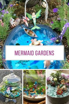 These mermaid gardens are a whole new take on fairy gardens, and filled with mystical sea-based treasures. Make one for yourself or with your daughter! garden ideas eyfs 16 Magical Mermaid Gardens You Can Make in An Afternoon Beach Fairy Garden, Fairy Garden Houses, Gnome Garden, Fairy Gardening, Fairies Garden, Kitchen Gardening, Gardening Quotes, Container Gardening, Gardening Tips