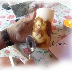 Decoupage on candles tutorial =)