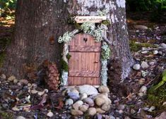 Fairy Door.  I bet you could make a similar one using popsicle sticks...